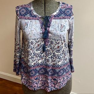 Lucky Brand Smock Top W/Bell Sleeves